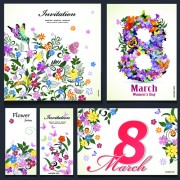 Link to8 march flower invitation cards vectors set 02