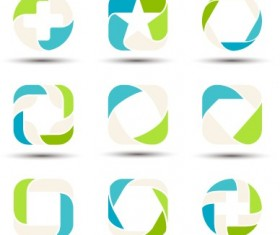 Abstract shapes colored logos vector 01