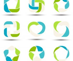 Abstract shapes colored logos vector 02