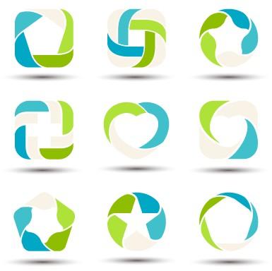 abstract shapes colored logos vector 02 - vector logo free download