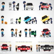 Auto mechanic design vector set