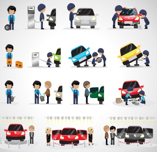 Auto Mechanic Design Vector Set Over Millions Vectors