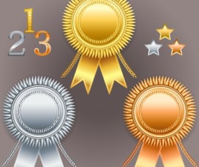 Creative colored award badges vector 01