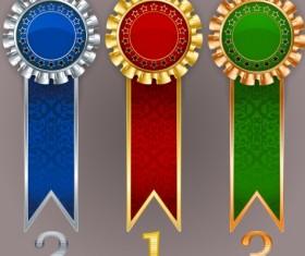 Creative colored award badges vector 02