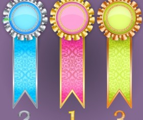 Creative colored award badges vector 03