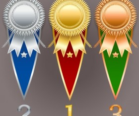 Creative colored award badges vector 05