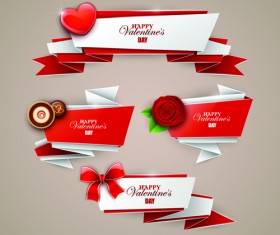 Shiny origami banners vector material 06