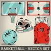 Baseball elements design vector set