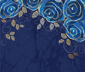 Beautiful blue rose vintage background vector 01
