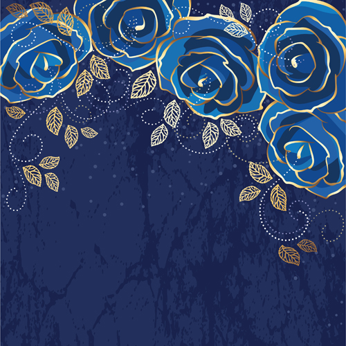 Beautiful blue rose vintage background vector 01 - Vector ...