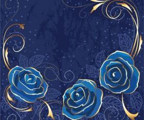 Beautiful blue rose vintage background vector 02