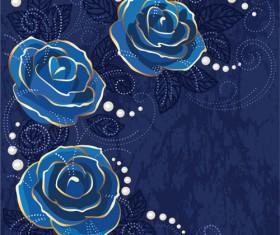 Beautiful blue rose vintage background vector 03