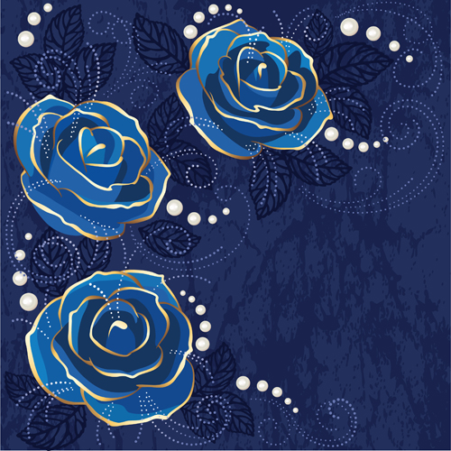 Beautiful blue rose vintage background vector 03 - Vector ...