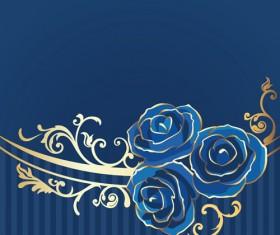 Beautiful blue rose vintage background vector 04