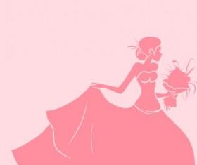 Beautiful bride design vector silhouette 01