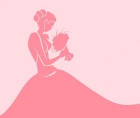 Beautiful bride design vector silhouette 02