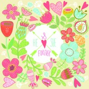 Link toBeautiful floral pattern greeting cards vector graphics 04