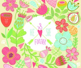 Beautiful floral pattern greeting cards vector graphics 04