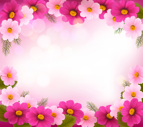 Beautiful Flower Frame Vector Graphics 01 Vector Flower