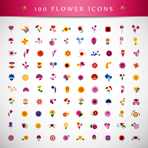 Beautiful flower icons vector graphics
