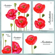 Beautiful flowers invitation design material 01