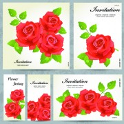 Beautiful flowers invitation design material 02