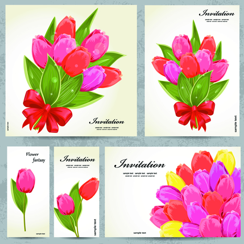 Beautiful flowers Invitation design material 03
