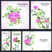 Beautiful flowers invitation design material 04