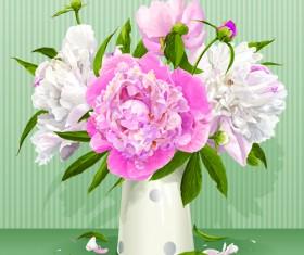 Beautiful peonies flower design vector 02