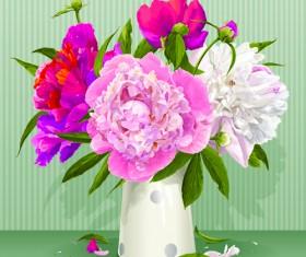 Beautiful peonies flower design vector 03