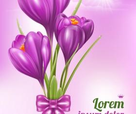 Beautiful purple flower card vectors 01