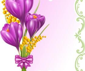 Beautiful purple flower card vectors 02