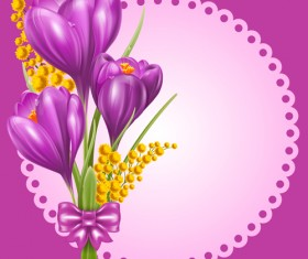 Beautiful purple flower card vectors 03