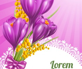 Beautiful purple flower card vectors 04
