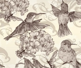 Hand drawn birds vintage style vector 03