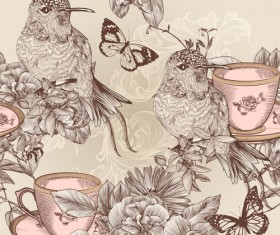 Hand drawn birds vintage style vector 04