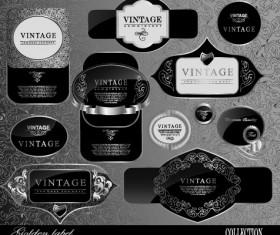 Black glass textured Label vector set 01