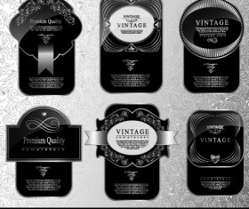 Black glass textured Label vector set 02