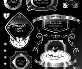 Black glass textured Label vector set 03