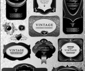Black glass textured Label vector set 04