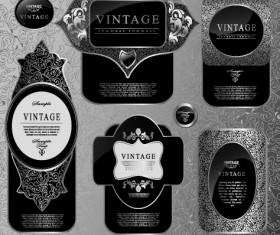 Black glass textured Label vector set 05
