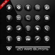 Link toGlass texture black web buttons vector set 01