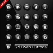 Link toGlass texture black web buttons vector set 03