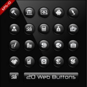 Link toGlass texture black web buttons vector set 04