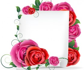 Blank paper and rose vector graphics