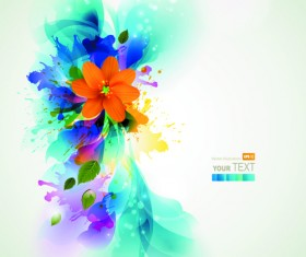Blue style watercolor flowers vector background 01
