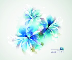 Blue style watercolor flowers vector background 02