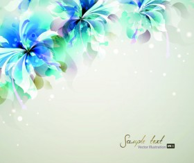 Blue style watercolor flowers vector background 03