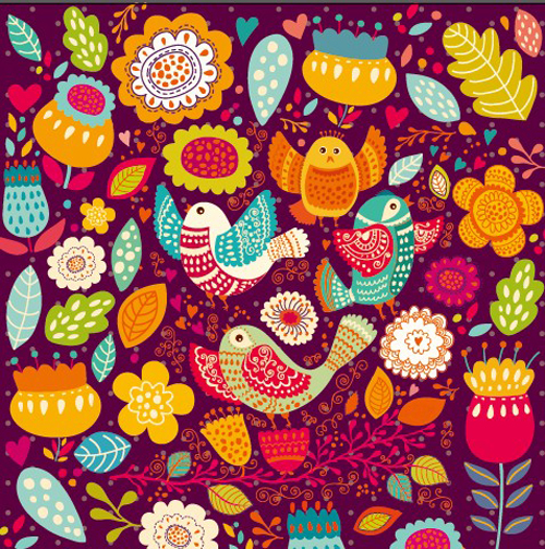 Cartoon Birds And Flowers Pattern Vector Vector Animal