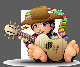 Cartoon boy and guitar design vector
